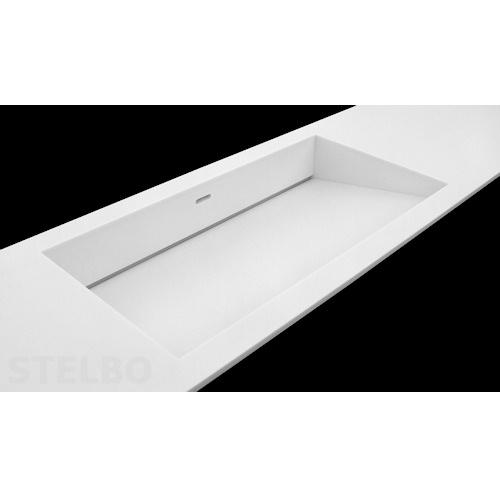 vask badeværelse Hvid Corian håndvask med skrå bund og skjult afløb. vask badeværelse