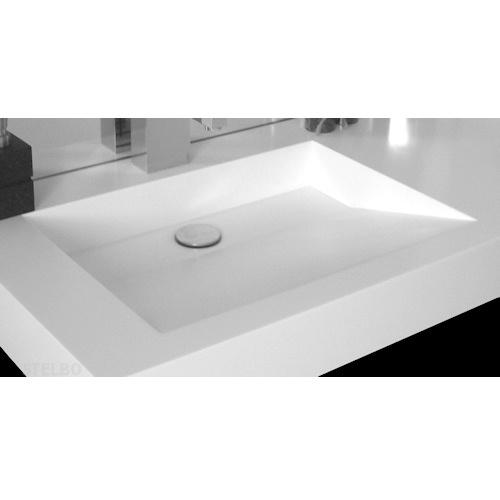 badeværelse håndvask Hvid Corian håndvask med skrå bund og skjult afløb. badeværelse håndvask
