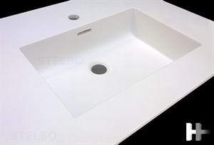 Corian vask til bad. Model Quadra / 700 x 300 x 120mm