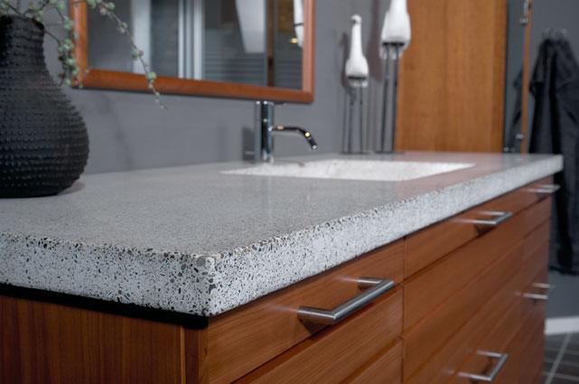 Støbt bordplade med håndvask